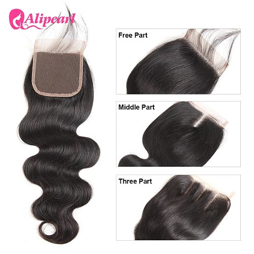 AliPearl Hair Body Wave Human Hair Lace Closure 4X4 Free Part With Baby Hair 150% Density Remy Hair ALI PAERL