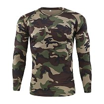 Men's Spring Autumn Outdoor Camouflage Long Sleeve T-Shirt Men Outdoor Quick Dry Tight Base Layer Sport Hunting Running T-Shirt