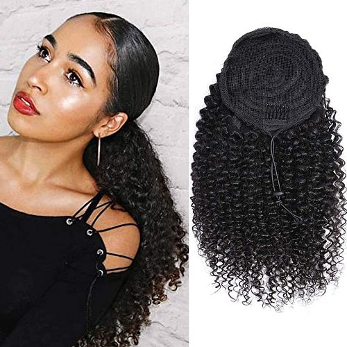8-24 Kinky Curly Human Hair Ponytail Clip In Drawstring Ponytail Extensions Alibele Curly Remy Human Hair Pony Tail Natural Hair