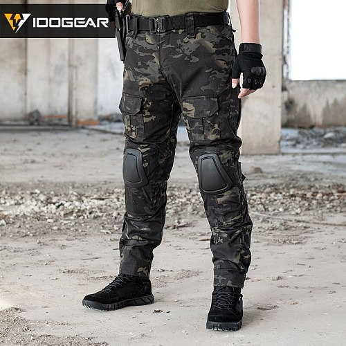 IDOGEAR Tactical G2 Pants with Knee Pads Airsoft Trousers MultiCam CP gen2 Hunting Multicam Black 3206