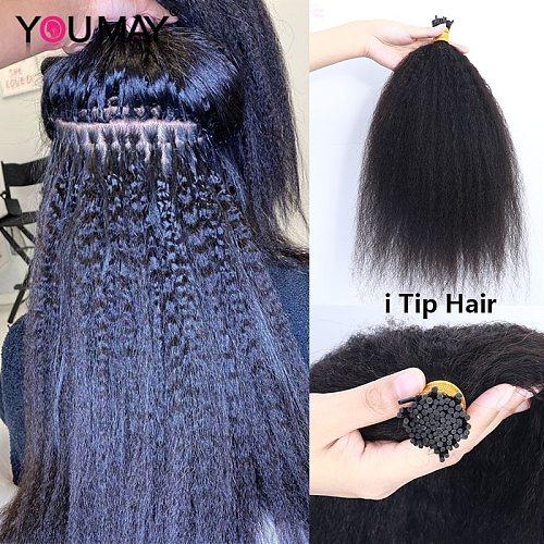 Kinky Straight I Tip Hair Extensions For Black Women Microlinks Human Hair Bundles Weave Bulk Curly Ponytail YouMay Virgin