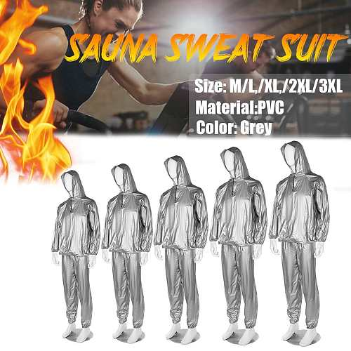 New Sauna Suit Set Men Women Zipper Hoodies Gym Clothing Set For Weight Loss Running Fitness Training Sweating Sportwear Workout