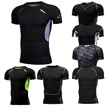 Men's Running Compression Tshirts Quick Dry Soccer Jersey Fitness Tight Sportswear Gym Sport Short Sleeve Shirt Breathable