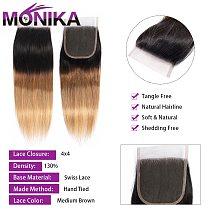 Monika Hair Closure Ombre Colored T1B #4#27#30 Lace Closure 4X4 Brazilian Straight Hair Closure Human Hair Non-Remy Closures