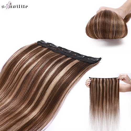 S-noilite 8-24  40-60g Non-Remy 100% Human 1Piece With 5Clips Straight Clip in Human Hair Extensions Around Head Hair Extensions