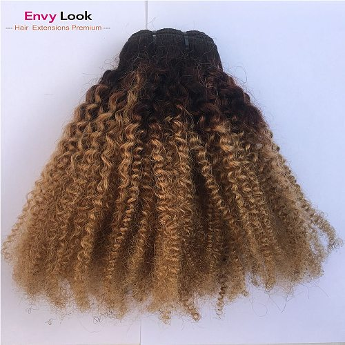 Ombre 1B/27 Afro Kinky Curl Three Bundles 14 16 18 Inch Sewn By Machine 100% Human Hair Brazilian Hair Bundles