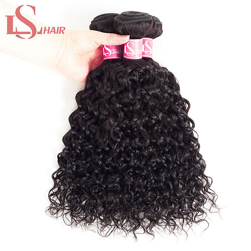 LS HAIR water wave brazilian hair weave 3 bundles short remy hair natural color human hair extensions  Curly Human Hair Bundles