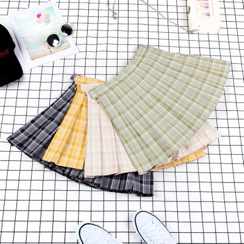 2019 Tennis Skirt Avocado Series Lattice Pleated Skirt Skirt College Wind Tennis Skirt Running Jogging Sports Cheerleader Skirt