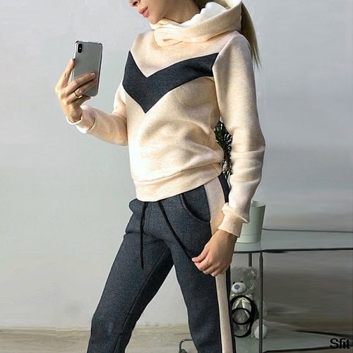 Womens Tracksuit Set Casual Striped Blocking Side Long Sleeve Sweatshirt And Sweatpant 2 Pieces Outfit Sets Sportswear