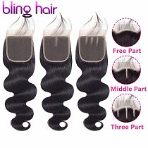 Bling Hair Brazilian Body Wave 4*4 Lace Closure Free/Middle/Three Part 100% Remy Human Hair Closure Natural Color Free Shipping