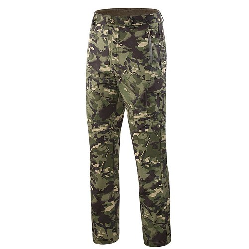 hunting trousers shark skin soft shell Fleece Trousers Army camouflage tactical outdoor windproof waterproof hiking pants 4xl