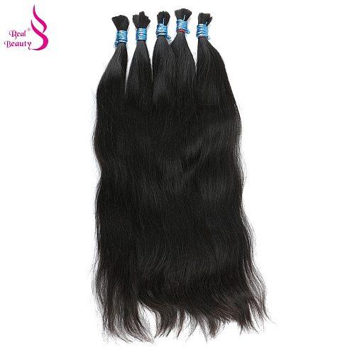 Real Beauty Remy Human Hair Brazilian Straight Bulk Hair For Braiding  Natural Color No Weft Crochet Braids