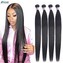 Allove Straight Hair Bundles Bone Straight Human Hair Bundles 30 inch Virgin Hair Bundles Brazilian Weave Human Hair Extensions