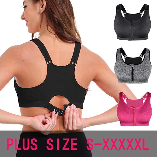 SEXYWG Sports Bras Hot Women Zipper Push Up Vest Underwear Shockproof Breathable Gym Fitness Athletic Running Yoga Bh Sport Tops