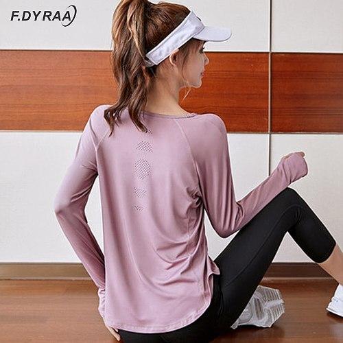 F.DYRAA Women Sports Yoga Tops Gym Loose Yoga Shirt Elastic Long Sleeve Workout Top Fitness Running Sport T-Shirts Sportswear