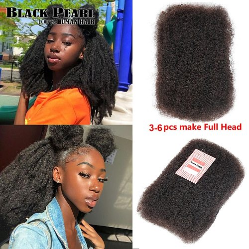 Black Pearl Remy Brazilian Kinky Curly Hair Afro Kinky Bulk Human Hair For Braiding Natural Color 50g/Pc Hair Extension