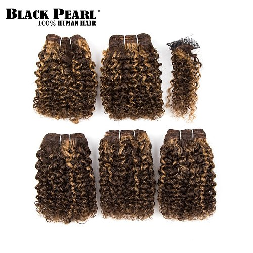 Cheap Kinky Curly Bundles With Closure Short Brazilian Hair Weave Bundles 5pcs 158g Remy Curly Hair Red Ombre Human Hair