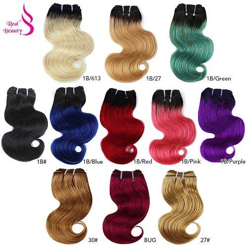 Real Beauty 50g Brazilian Body Wave Ombre Hair Weave Bundles Blond Red Blue Human Hair Extension Short Bob Style Remy Bundles