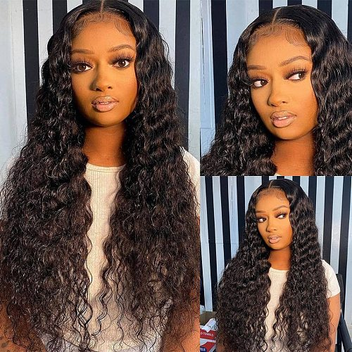 Melodie 28 30 32 Inches Deep Wave Bundles With Closure Brazilian Human Hair Virgin Frontal Water Curly Bundles And 4X4 Closure