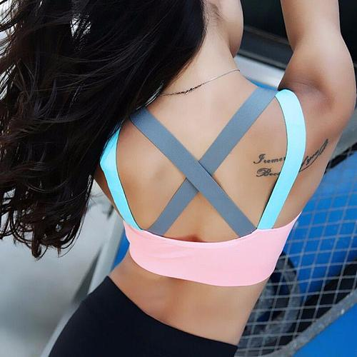 Sports Bra Full Cup Breathable Top Shockproof Cross Back Push Up Workout Bra For women Gym Running Jogging Yoga Fitness Bra