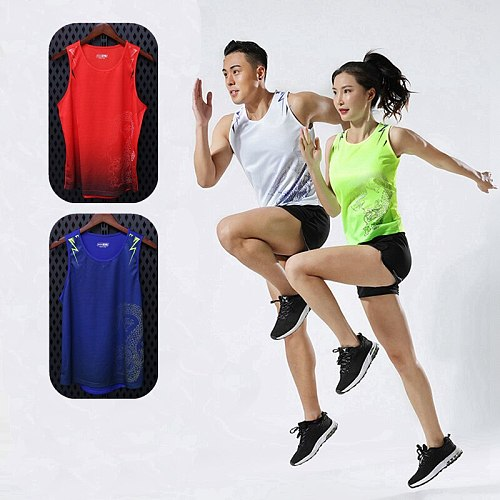 High quality spandex Men/Women Running Vest Gym Sleeveless Track and field Shirt marathon Slim Tank Sport Vest Top Training