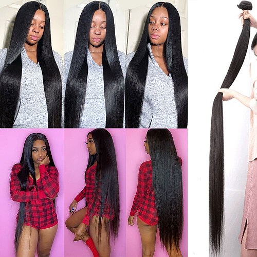 Human Hair Bundles Straight 30 32 40 inch Bundles Brazilian virgin Hair Weave Straight Human Hair Extension Human Hair Bundles