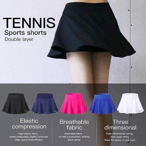 Queshark Pro Women Sports Anti Exposure Tennis Badminton Skirt Shorts Quick Dry Fitness Running Yoga High Waist Elastic  Shorts