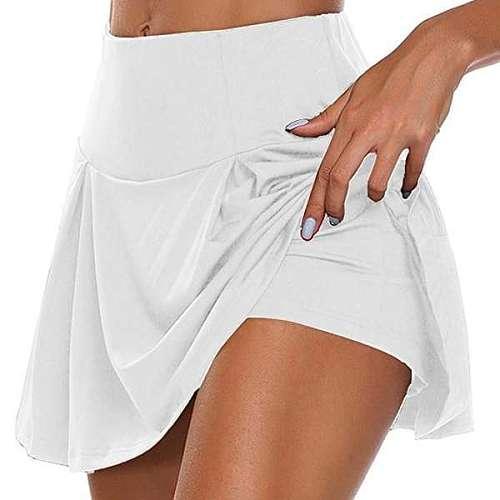 2020 Women Sports Tennis Dance Fitness Quick Drying Solid Female Tennis Running Skort Skirt Active Athletic Yoga Fitness Skirts
