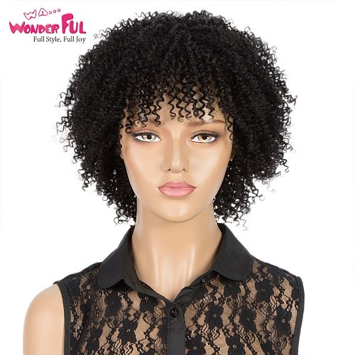 Short Afro Kinky Curly Wigs Human Hair Wigs For Black Women Ombre P1b/30 Wigs Full Machine Made 100% Human Wigs Brazilian Remy