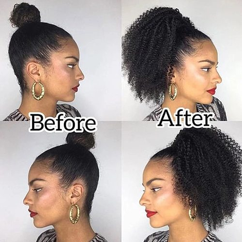 Afro Kinky Curly Hair Ponytail Extensions Clip in Drawstring Ponytail Human Hair Extensions Mongolian Kinky curly Hair Pieces
