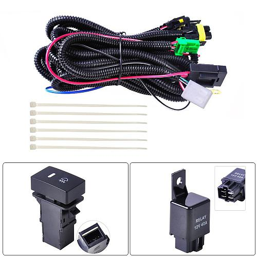 H11 Car Fog Light Wiring Harness Sockets Wire LED indicators Switch 12V 40A Relay Auto ON/OFF Switch Kits Fit LED Work Lamp