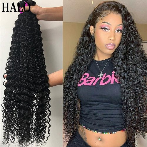 Brazilian 1 3 4 Deep Wave Hair Bundles Water Wave Curly Hair Weaves 30 32 40 Inch Natural Human Hair Thick Bundles Virgin Hair