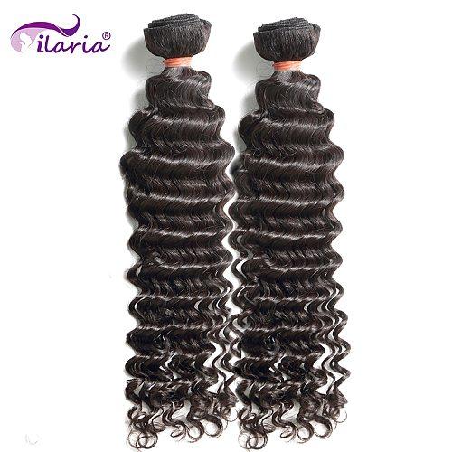 ILARIA HAIR Mink Brazilian Virgin Curly Hair 2 Bundles Grade 8A Deep Wave 08 -36  100% Human Hair Extensions Weave Shipping Free