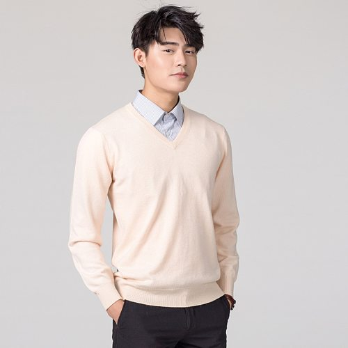 Mens Sweater Hiking Shirst Male Hot Sale Wool Fabric Top Qulity V Neck Sweaters For Men Shirts SYY08