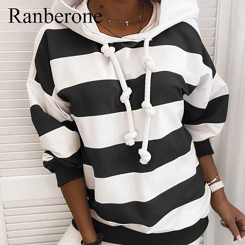 Fashion Women Hoodies Striped Colorblock Loose Hoodies Drawstring Clothes Long Sleeve Hooded Sweatshirt Female Plus Size 2020