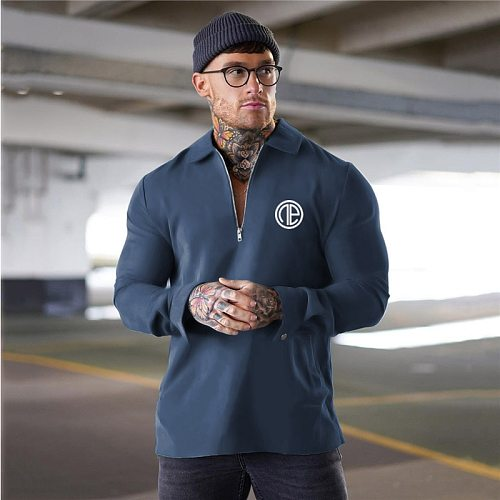 Running Lapel Shirt Men Gym Clothing Fitness Pullover Cotton Long Sleeve Sports T-Shirt Brand Bodybuilding Workout T Shirt Tops
