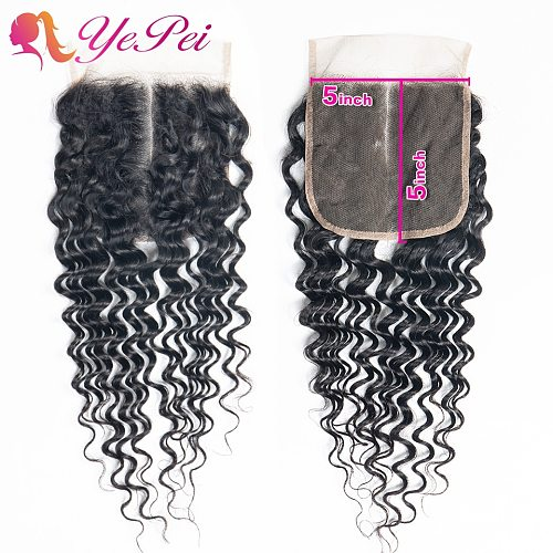 5x5 Deep Wave Closure 100% Human Hair Swiss Lace Closure 10- 20inches Middle Part Brazilian Remy Closure Yepei Hair