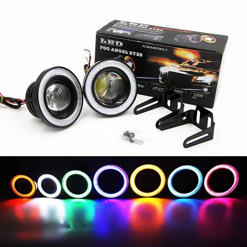 2 Pcs Car Fog Light  LED With Lens COB Angel Eyes Lamp 2.5  3.0  3.5  64mm 76mm 89mm 12V Auto Universal DRL Driving Bulb