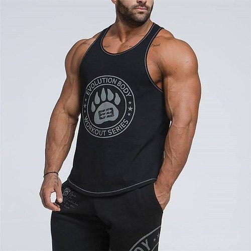 New Running Vest Men Sleeveless Fitness T-shirt Bodybuilding Muscle Stringers Undershirt Gym T Shirt Sport Tank Top Men Vest