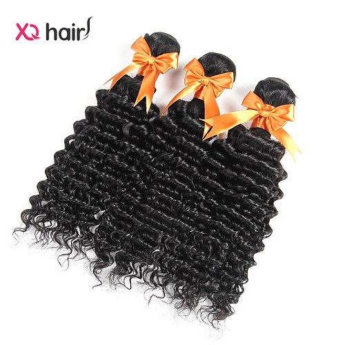 XQ Hair deep wave Bundles Natural Black Color Brazilian Hair Weave Bundles Non Remy Hair Extension 100% Human Hair Bundles