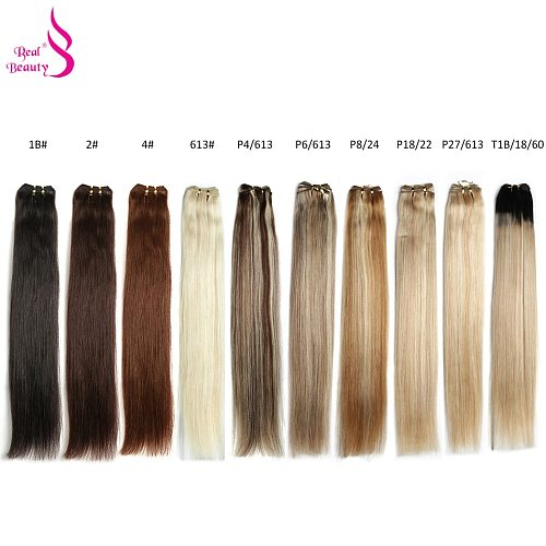 Real Beauty Platinum Blond Brazilian Straight Hair Weave Bundles 14 -28  Hight Ratio Remy Hair Extensions Brown #2 #4 #P6/613