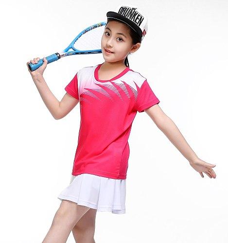 Girls tenis masculino,Kid table tennis shirt,volleyball table tennis Skirts,Child badminton shirt + Skorts tennis Suits Clothes