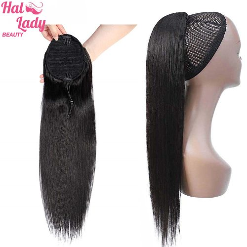 Halo Lady Beauty Straight Drawstring Ponytail Human Hair Indian Clip In Hair Extensions Non-Remy Ponytail For Women