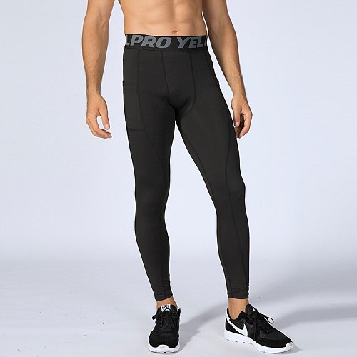 Solid Color Pockets Compression Pants Running Tights Men Soccer Training Fitness Sports Leggings Gym Jogging Trousers Sportswear
