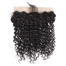 Magic Deep Wave Brazilian Curly Hair Lace Frontal Closure 13x4 Bleached Knots With Baby Hair 100% Human Hair Fronta