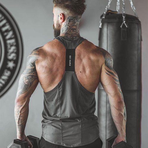 2019 Sleeveless Gym Tank Men Running Shirt Summer Vest Breathable Muscle Mens Tank Tops Workout Fitness T-Shirt Sport Shirt