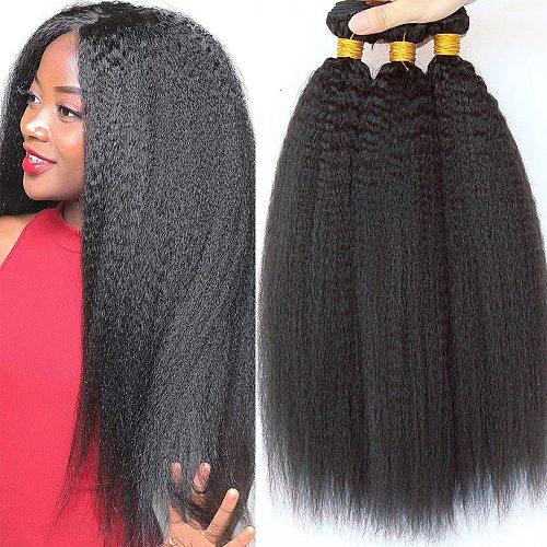 Kinky Straight Bundles Virgin Hair Extensions Italian Coarse Yaki Human Hair Brazilian Hair Weave Bundles 1/3/4 Bundles Deals