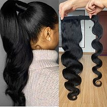 Wrap Around Ponytail Human Hair Brazilian Body Wave Pony Tail Remy Hair Clip In Ponytail Extensions For Women 120g