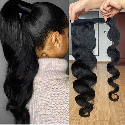 Wrap Around Ponytail Human Hair Brazilian Body Wave Pony Tail Remy Hair Clip In Ponytail ExtensionsFor Women 120g