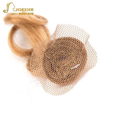 Joedir Short Romance Wave Bundles With Closure 6 Pcs One Pack Brazilian Brown Blonde Color Curly Human Hair Bundles